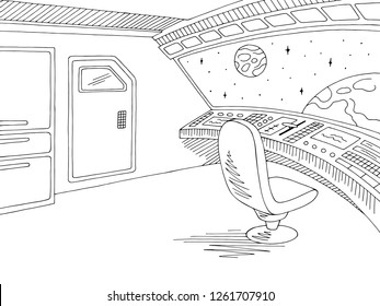 Spaceship interior graphic black white sketch illustration vector