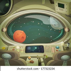 Spaceship Interior/ Illustration of a cartoon graphic scene of cosmic spacecraft interior traveling through scifi cosmos