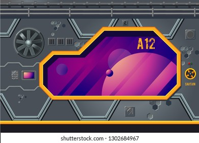 Spaceship interior with window. Rocket room game concept. Futuristic vector background.