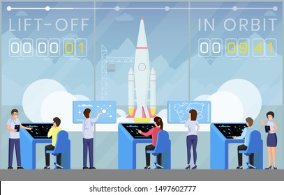 Spaceship launch countdown flat vector illustration. Ground control center workers, engineers team controlling launch cartoon characters. Rocket science, space exploration technology banner template