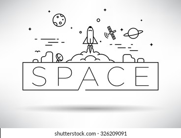 Spaceship Linear Vector Design