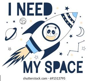Spaceship print design with slogan. Vector illustration design for fashion fabrics, textile graphics, prints.