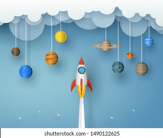 Spaceship or rocket red - white color launch to the solar system in the universe and flying to the asteroids on blue background. origami vector illustration paper art concept.