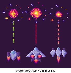 Spaceship shooting, explosion of pixelated object, invaders and cosmic sign on purple, video and pixel game, rocket war, dotted line and bang from vehicle vector. 8 bit old video-game