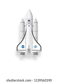 Spaceship. Space shuttle isolated objects on white background. Vector illustration.