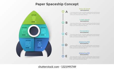 Spaceship or spacecraft divided into 5 colorful parts. Concept of five options or steps of startup project launch. Paper infographic design template. Modern vector illustration for presentation.