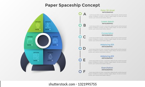 Spaceship or spacecraft divided into 6 colorful parts. Concept of six options or steps of startup project launch. Paper infographic design template. Modern vector illustration for presentation.