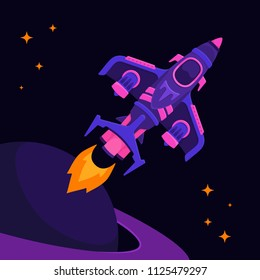 Spaceship Top View Space Vector illustration