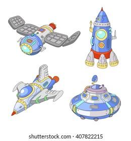 Spaceship and UFO vector cartoon set, Rocket, spacecraft