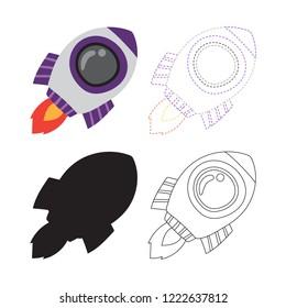 Spaceship worksheet vector design for kid