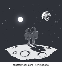 Spacewoman and spaceman is hugging on the planet .Cosmic love. Space romantic illustration