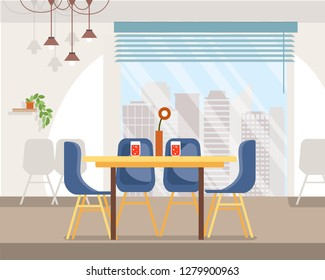 Spacious Cafe Interior Flat Vector with Chairs, Vase and Red Carbonated Beverage in Glasses on Table, Hanging Lamps, Big Window with City Landscape Outside Illustration. Modern Restaurant Furniture