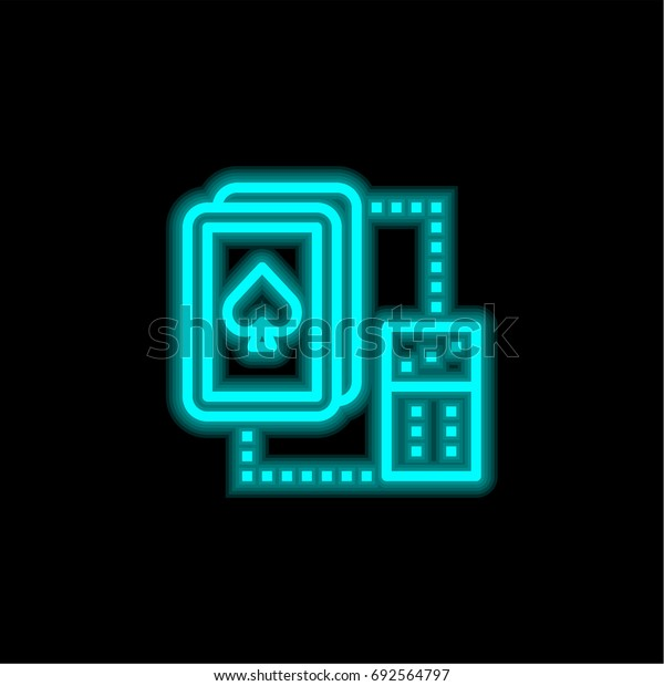 Spade blue glowing neon ui ux icon. Glowing sign logo vector