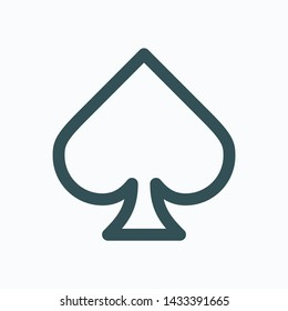 Spade isolated icon, poker outline icon, casino games linear vector icon