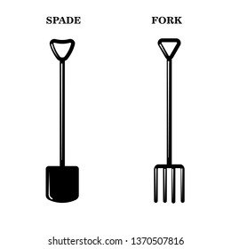 Spade and pitchfork icons in simple style. Simple illustration of vector shovel and pitchfork for web design.