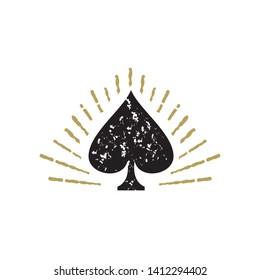 Spade vector logo. Spade emblem. Spade icon. Playing cards spade illustration