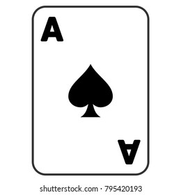 Spades Ace Playing Card vector icon. Style is flat graphic symbol.