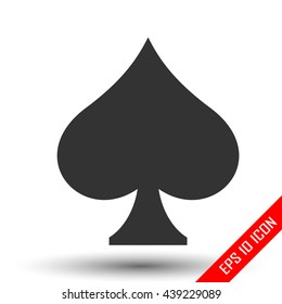 Spades icon. Simple flat logo of spades sign on white background. Vector illustration.