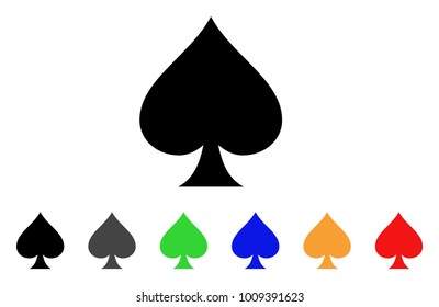Spades Suit icon. Vector illustration style is a flat iconic spades suit symbol with gray, , green, blue, red, black color variants. Designed for web and software interfaces.