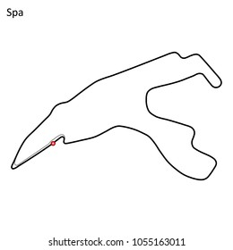 Spa-Francorchamps grand prix race track. circuit for motorsport and autosport. Vector illustration.