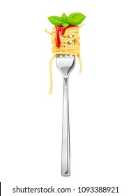 Spaghetti at fork with basil and sauce. Pasta. Organic meal. Traditional italian food. Natural eating. Cooking lunch. Macaroni design. Isolated white background. EPS10 vector illustration.