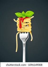 Spaghetti at fork with basil and sauce. Pasta. Organic meal. Traditional italian food. Natural eating. Cooking lunch. Macaroni design. Dark background. EPS10 vector illustration.