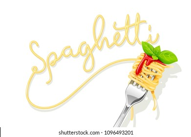 Spaghetti at fork with basil and sauce. Pasta. Organic meal. Traditional italian food. Natural eating. Cooking lunch. Concept Macaroni design. Isolated on white background. EPS10 vector illustration.