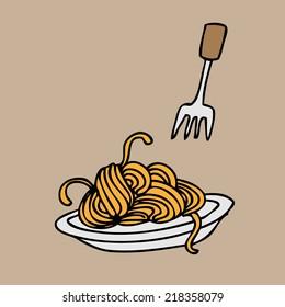 Spaghetti and fork cartoon vector