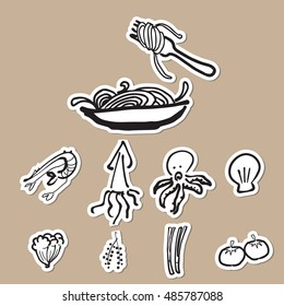 Spaghetti and ingredients cartoon drawing icons