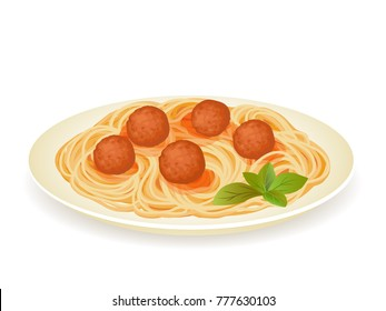 Spaghetti with meatballs and basil leaves isolated on white. Vector illustration