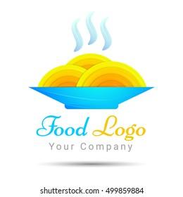 Spaghetti as nest, icon idea for italian restaurant brand Colorful Vector 3d Volume Logo Design Corporate identity