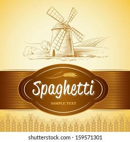 spaghetti. pasta. Bakery. labels, pack for spaghetti, pasta