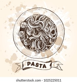 Spaghetti pasta with cherry tomatoes and basil. Dish of Italian cuisine. Ink hand drawn Vector illustration. Top view. Food element for menu design.