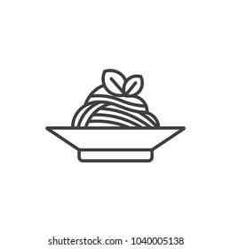 Spaghetti pasta line icon.