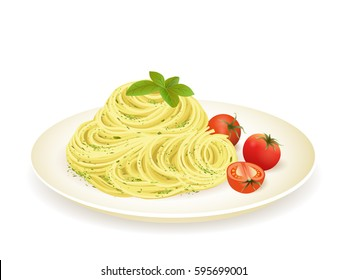 Spaghetti with pesto isolated on white vector illustration