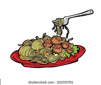 spaghetti in red plate