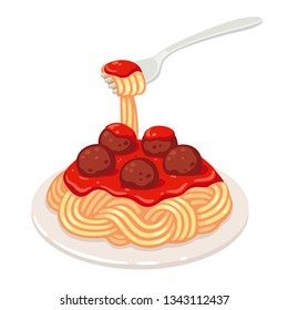 Spaghetti with tomato sauce and meatballs. Classic pasta dish vector clip art illustration.