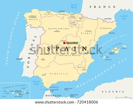 Provinces Of France Map In English.Spain Administrative Divisions Political Map Autonomous Stock Vector
