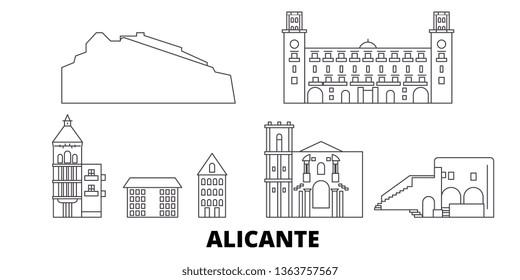 Spain, Alicante line travel skyline set. Spain, Alicante outline city vector illustration, symbol, travel sights, landmarks.