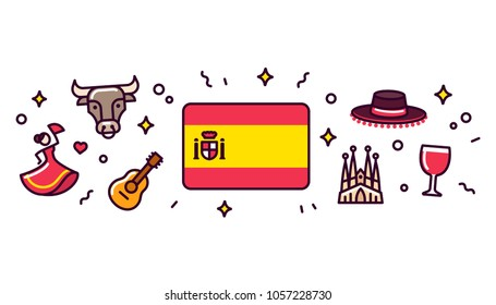 Spain banner design elements. Spanish flag surrounded with traditional signs and symbols. Vector clip art illustration, cute cartoon style.