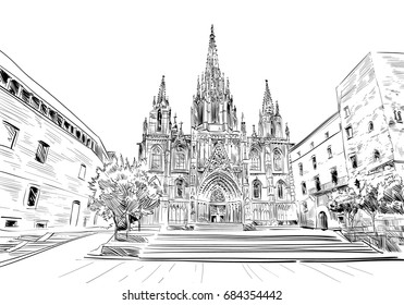 Spain. Barcelona. Cathedral of the Holy Cross and St. Eulalia. Hand drawn city sketch. Vector illustration.