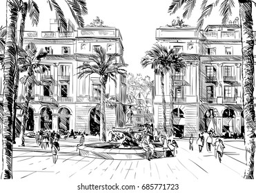 Spain. Barcelona. King's Square. Hand drawn city sketch. Vector illustration.