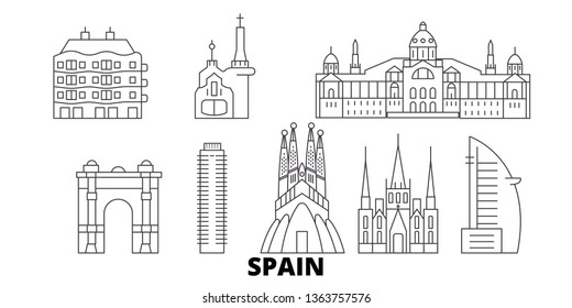 Spain, Barcelona line travel skyline set. Spain, Barcelona outline city vector illustration, symbol, travel sights, landmarks.