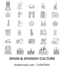 Spain, barcelona, madrid, spanish, flamenco, mediterrian line icons. Editable strokes. Flat design vector illustration symbol concept. Linear signs isolated