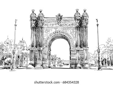 Spain. Barcelona. Triumphal Arch. Hand drawn city sketch. Vector illustration.