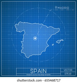Blueprint spain images stock photos vectors shutterstock spain blueprint map template with capital city madrid marked on blueprint spanish map vector malvernweather Images