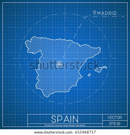 Spain blueprint map template capital city stock vector royalty free spain blueprint map template with capital city madrid marked on blueprint spanish map vector malvernweather Images