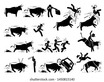 Spain bullfight and bull run event pictogram icons. Stick figure illustrations depict angry bull charging at matador, people, car, and also rodeo game.