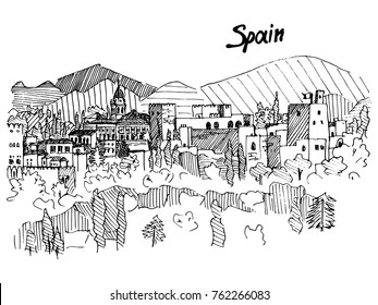 spain castle on the mountain, sketch liners vector black and white version