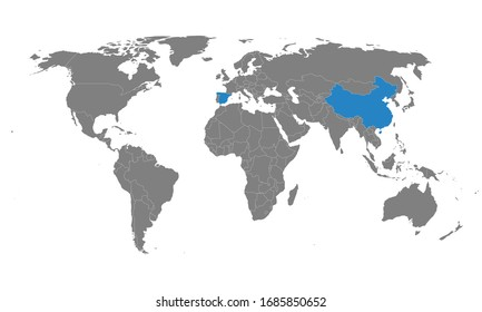 Spain, china countries highlighted on world map. Business concepts, political, health, trade and tourism.